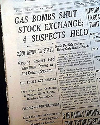 WALL STREET Stock Market NYSE New York City GAS BOMBS Bombing 1933 NYC Newspaper (Bomb Of Gas)