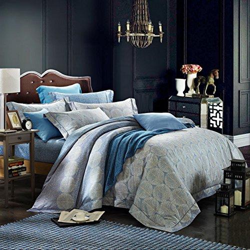 CASA Long Staple Pima Cotton series 80S YARN COUNT Duvet Cover & Flat sheet & Pillow Case,Duvet Cover Set,Super Soft,4 Piece,King Size