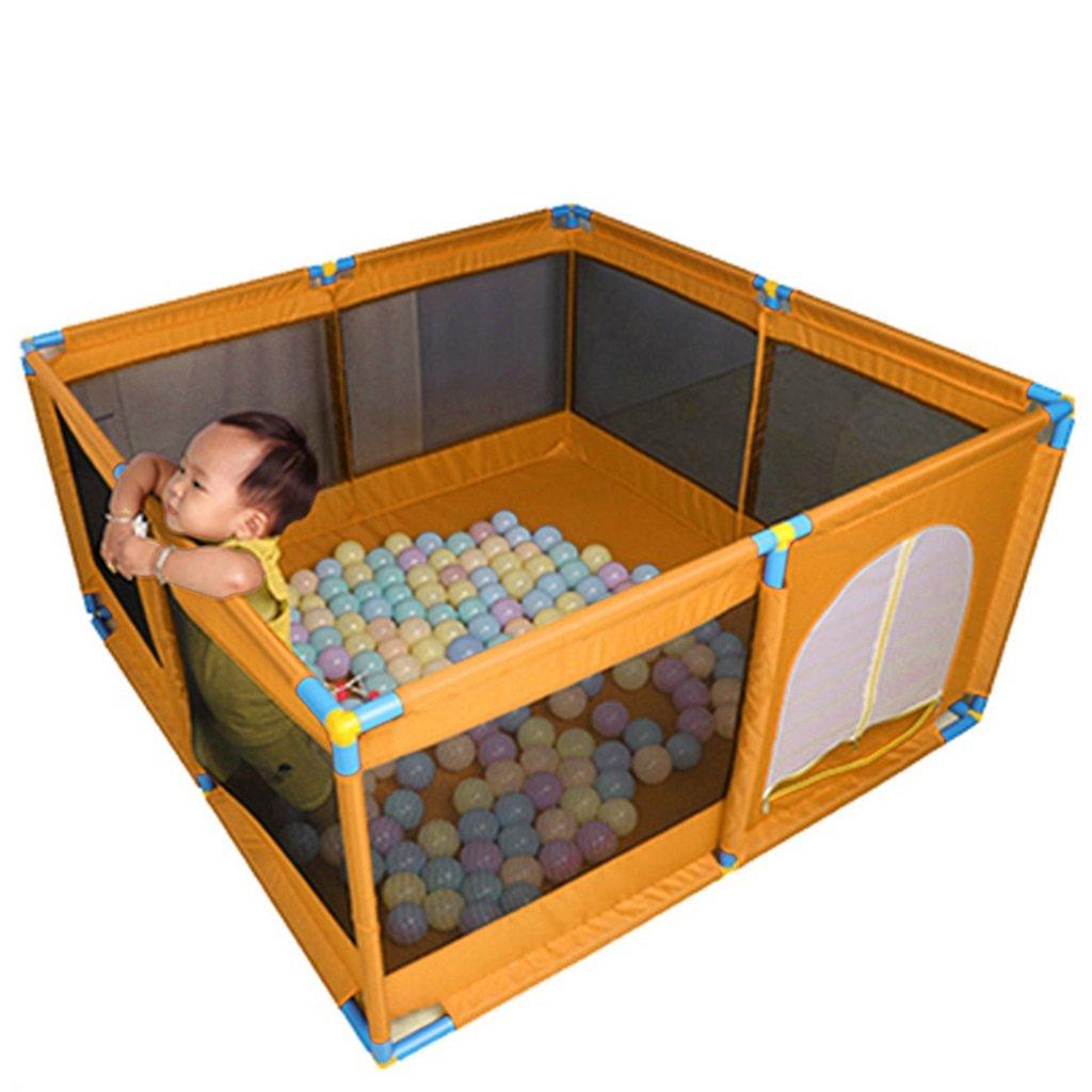 マットレスパッドとボール、オックスフォードクロスフェンス付きの幼児用プレイペン8パネルキッズアクティビティセンター、男の子用女の子屋外屋内、オレンジ   B07DW54W15