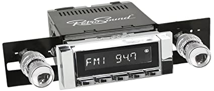 RetroSound HC-111-04-74 Hermosa Direct-Fit Radio for Classic Vehicles  (Chrome Face and Buttons and Chrome Bezel)