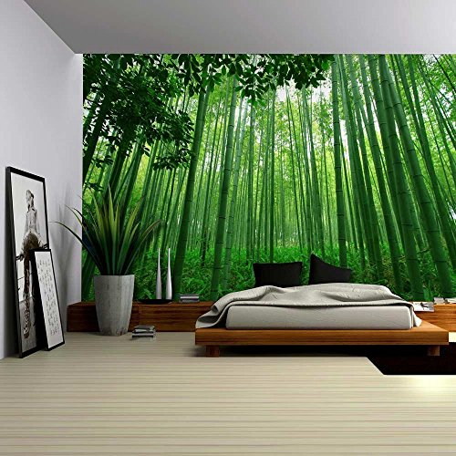 wall26 close up view into a pure green bamboo forest wall mural removable sticker home decor 100x144 inches - Bamboo Room Decorations