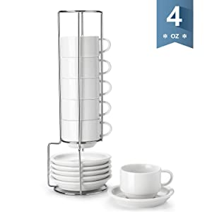 Sweese 405.001 Porcelain Stackable Espresso Cups with Saucers and Metal Stand - 4 Ounce for Specialty Coffee Drinks, Single/Double Espresso, Cappuccino, Latte and Tea - Set of 6, White