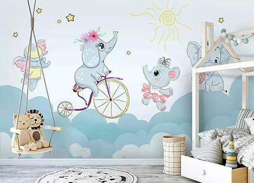 HDOUBR Papel Pintado Personalizado sin Dibujos Animados Elefantes ...