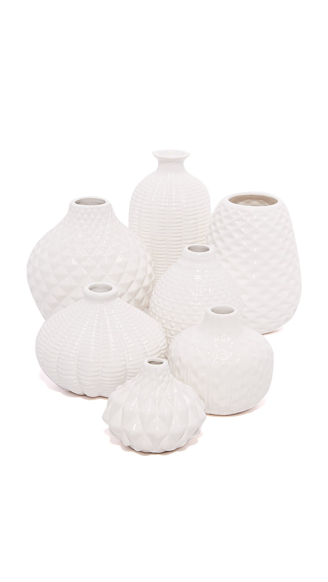 Gift Boutique Women's Artisan Carvings Set of 7 Bud Vases, White, One Size