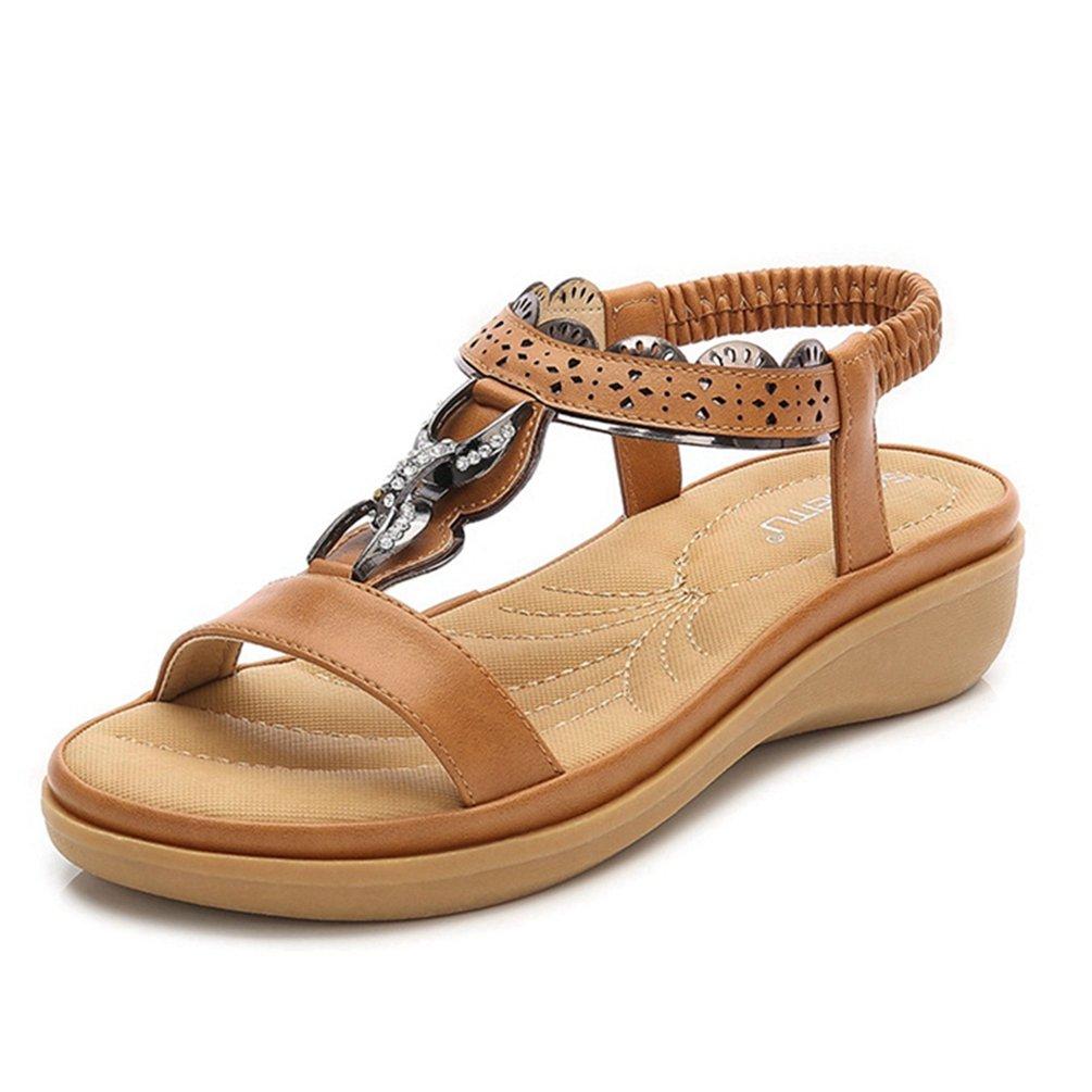 JRenok Mode Cales Sandales Bohème Plat pour Les Femmes d'été Strappy Plage Romaine Casual Plate-Forme Chaussures Plates