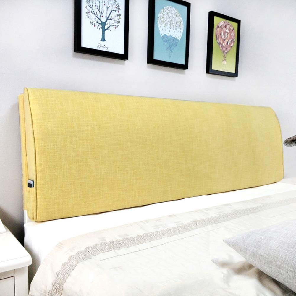 PENGFEI Cushion Bed Backrest Headboard Soft Cover Lumbar Upholstered Reading Pillow Washable, with/Without Headboard Standard, 3 Colors, 9 Size (Color : Yellow No headboard, Size : 90CM)
