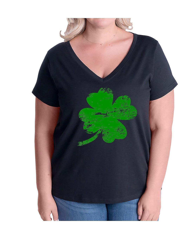 119fa04dc5f5f Amazon.com  12.99 Prime Tees Women s Plus Size Four Leaf Clover Shamrock  Lucky ST. Patricks Day V-Neck T Shirt  Clothing