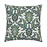 Roostery Islamic Linen Cotton Throw Pillow Cover Persian Pattern, Restored Colors by Unseen Gallery Fabrics Cover Only