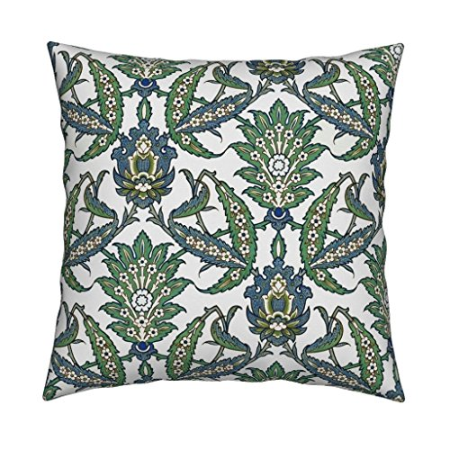 Roostery Islamic Linen Cotton Throw Pillow Cover Persian Pattern, Restored Colors by Unseen Gallery Fabrics Cover Only by Roostery