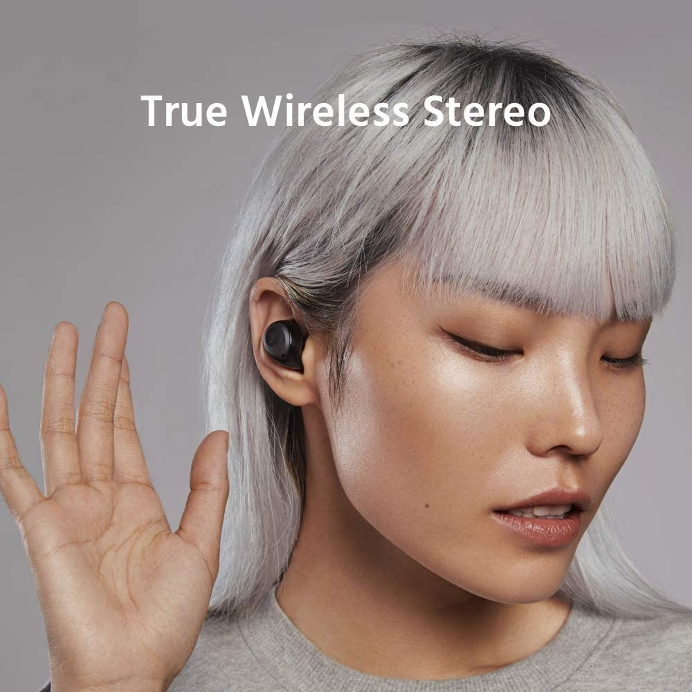 Goyibam TWS 5.0 Stereo Earbuds, True Wireless Bluetooth Headset with Microphone, Sweat Proof IPX5, 4.5H Playtime, Auto-Pair Wireless Earphones for Huawei iPhone Black