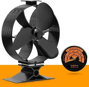 GALAFIRE [2 años] Flujo de aire grande Ventilador de 3 Aspas para Estufa de Leña, Respetuoso con el medio ambiente Ventilador Estufa con Medidor de temperatura de termómetro de estufa magnética: Amazon.es: