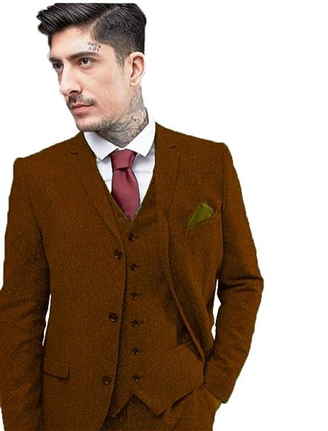 Amazon.com: Chaleco de lana de alta gama, color marrón, con ...