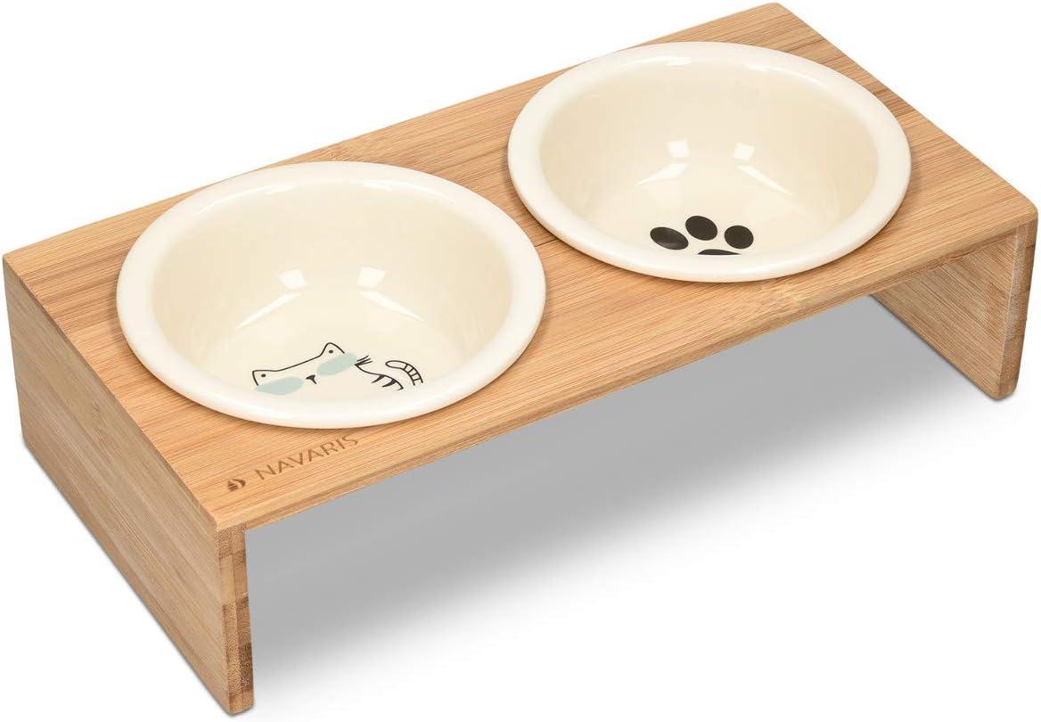 Navaris 2X Cuenco Elevado para Mascotas - Comedero y Bebedero Doble de cerámica para Perros Gatos Cachorros - con Soporte de bambú Antideslizante