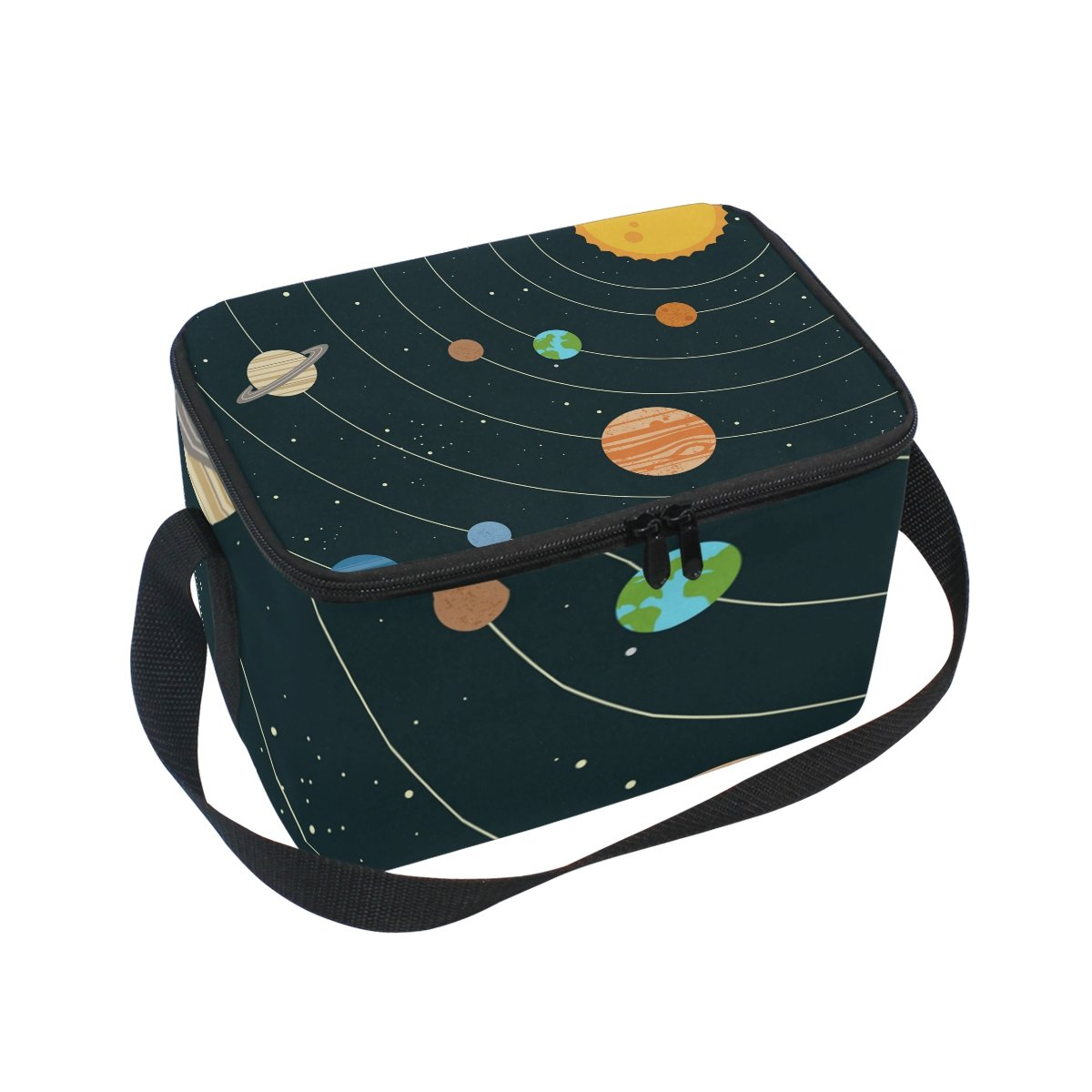 LORVIES Solar System Universe Insulated Lunch Box Bag Cooler Reusable Tote Bag with Adjustable Shoulder Strap for Women Men