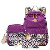 School Backpack, Aiduy Cute Lightweight Canvas Bookbags Shoulder Daypack Handbag (Purple)