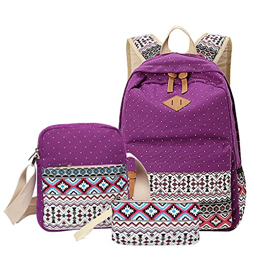 School Backpack, Aiduy Cute Lightweight Canvas Bookbags Shoulder Daypack Handbag (Purple)