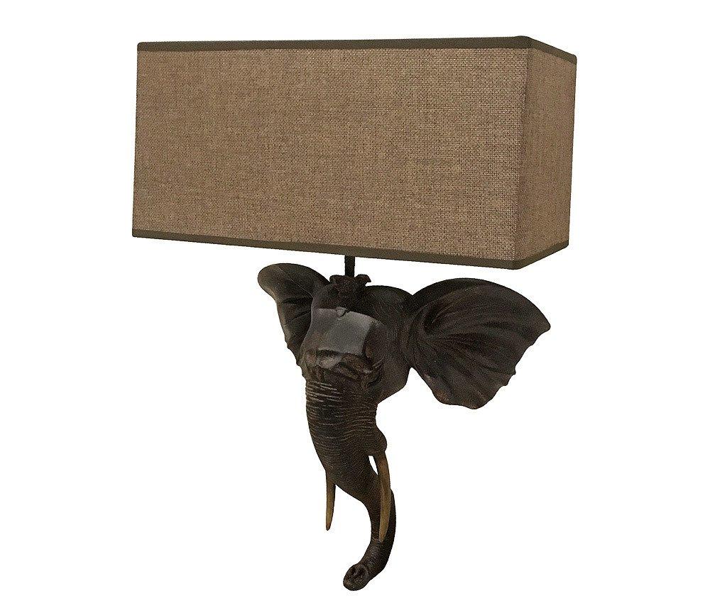 Zeitzone Wandleuchte Elefant Afrika Wandlampe Safari Kolonialstil Antik-Stil Braun