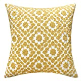 SLOW COW Cotton Embroidery Decor Throw Pillow Cover Yellow Decorative Cushion Cover, 18x18 Inches.