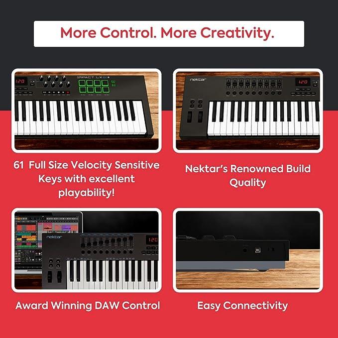 Nektar Impact LX61+ - teclado controlador MIDI USB con integración DAW