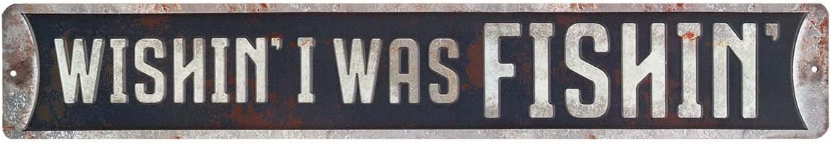 Open Road Brands Blue Wishin I was Fishin Rustic Tin Metal Street Sign Wall Art - an Officially Licensed Product Great Addition to Add What You Love to Your Home/Garage Décor