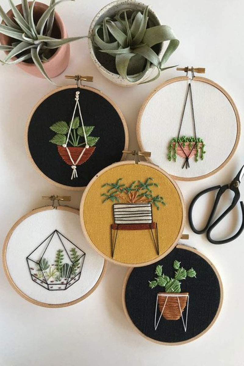 SUNTQ 12 Pieces 5 Inch Embroidery Hoops Bamboo Circle Cross Stitch Hoop Ring for Embroidery and Cross Stitch