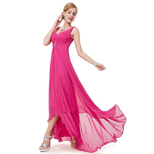 Ever Pretty Womens Double V-neck Rhinestones Ruched Bust High Low Evening Dress 09983