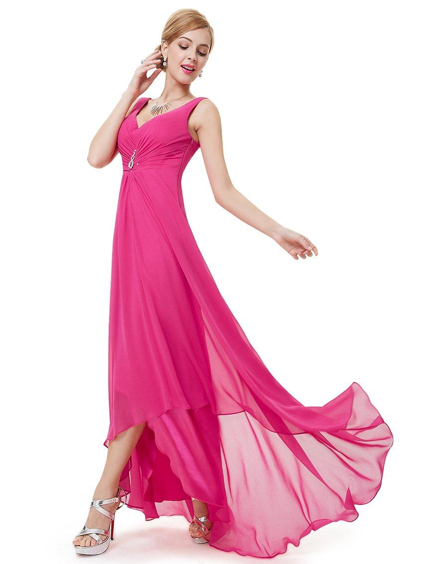 Ever-Pretty Womens High Low Summer Wedding Guest Dress 16 US Hot Pink