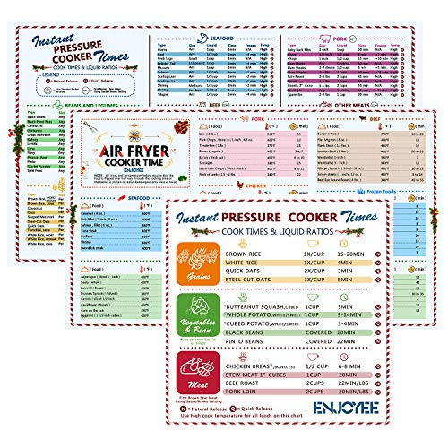 Magnetic Cheat Sheet, Cook Timers Quick Reference Guide Set for Air Fryer and Instant Pot or Electric Pressure Cooker