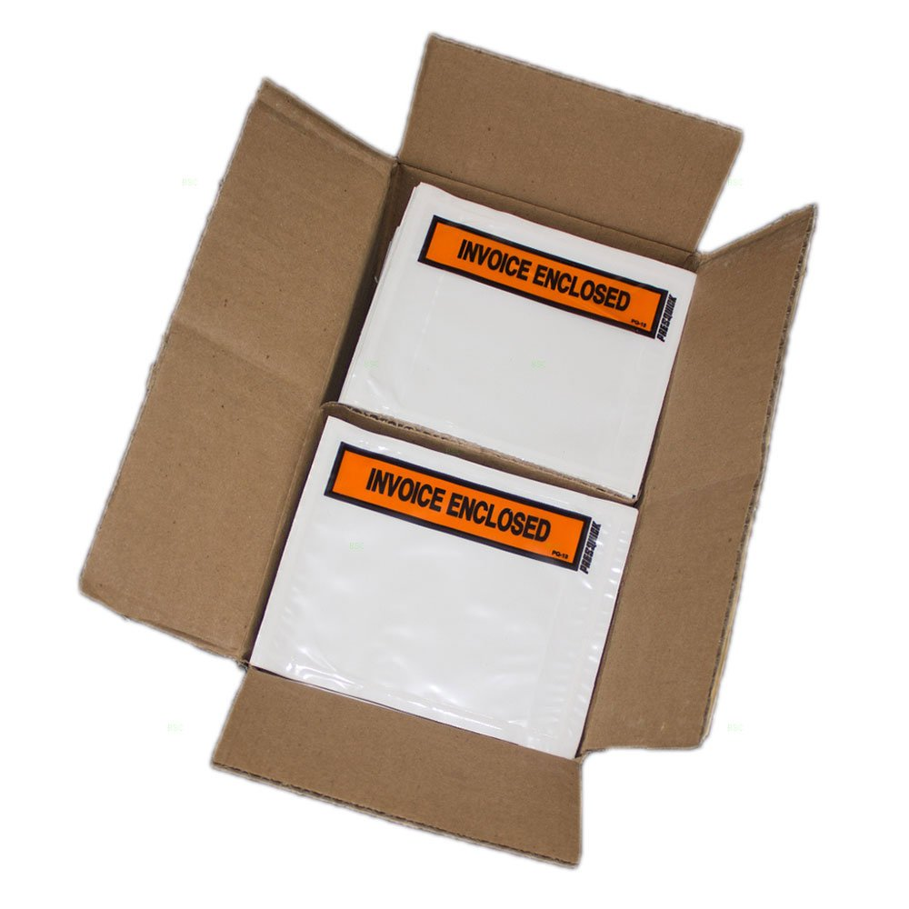 1000 Pc Case Clear Invoice Enclosed Envelope 4.5'' x 5.5'' Receipt Box Pouch w/Adhesive Back for Warehouse Office