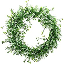 Duovlo 17.72-Inch Artificial Green Leaf Wreath Front Door Wreath Greenery Hanging Wall Window Decoration,Pack of 1 (White Green)