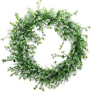 Duovlo 17.72-Inch Artificial Green Leaf Wreath Front Door Wreath Greenery Hanging Wall Window Decoration,Pack of 1 17