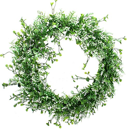 White Artificial Wreath - Duovlo 17.72-Inch Artificial Green Leaf Wreath Front Door Wreath Greenery Hanging Wall Window Decoration,Pack of 1 (White Green)