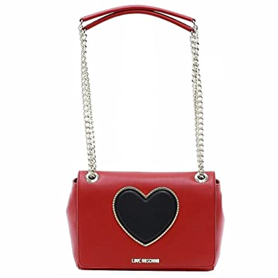 490bf530528f4 Amazon.com  Love Moschino Women s Heart   Logo Red Black Flap-Over ...