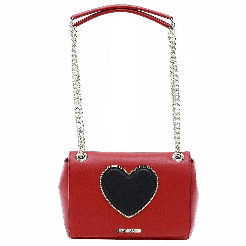 Love Moschino Women's Heart & Logo Red/Black Flap-Over Satchel Handbag