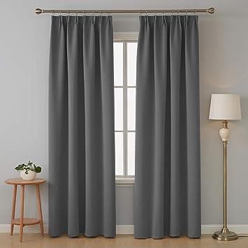 Deconovo Vorhang Blickdicht Kräuselband Gardinen Schlafzimmer Vorhang  245x140 cm Dunkelgrau 2er Set