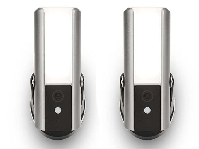 Juego de 2 lámparas para exteriores de LED de intensidad regulable con cámara, detector de