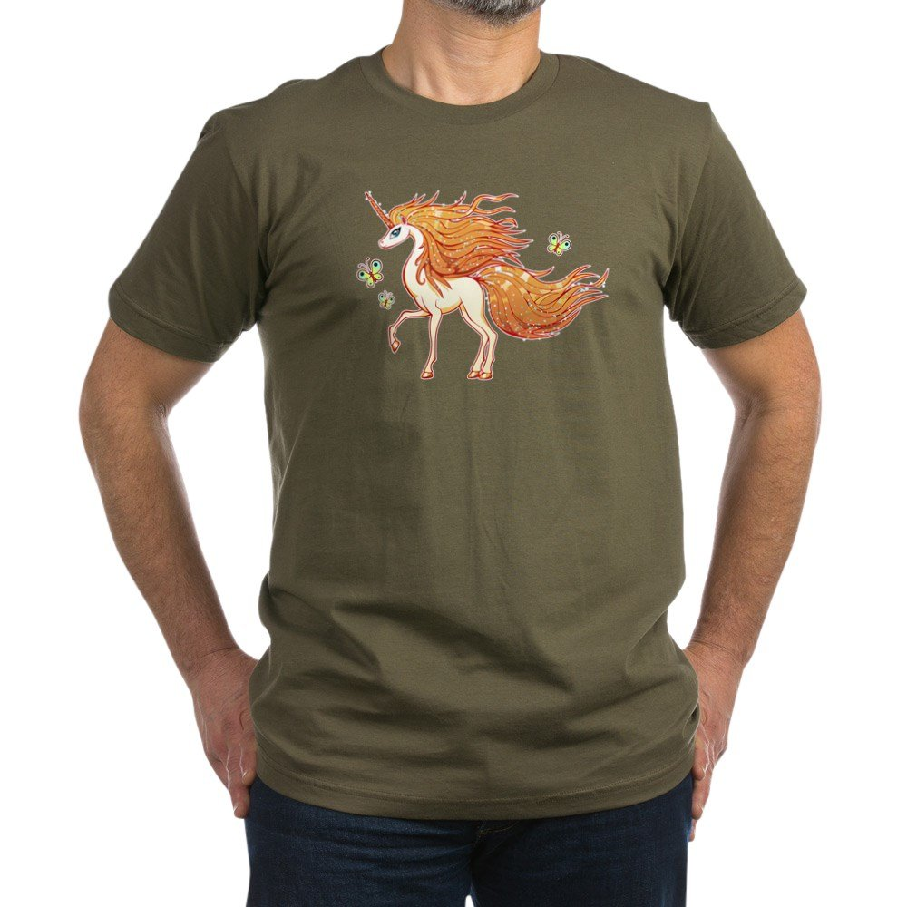 Truly Teague Men's Fitted T-Shirt (Dark) Golden Sparkle Unicorn With Butterflies - Army Green, XL
