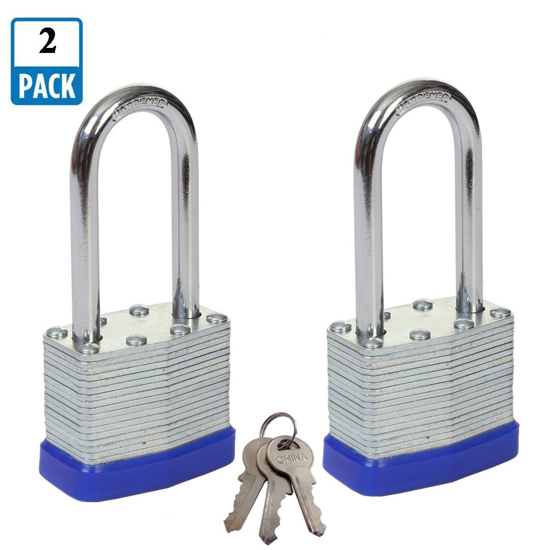 SEPOX Padlock, 1-9/16'' Wide Body Laminated Steel Padlock with Long Hardened Steel Shackle Pack of 2