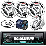 JVC KDX33MBS Marine Boat Yacht Radio Stereo Player Receiver Bundle Combo With 4x JVC CS-DR6201MW 300-Watt 6.5 2-Way Coaxial Speakers + Enrock Radio Antenna + 50 Foot 16g Speaker Wire (White)