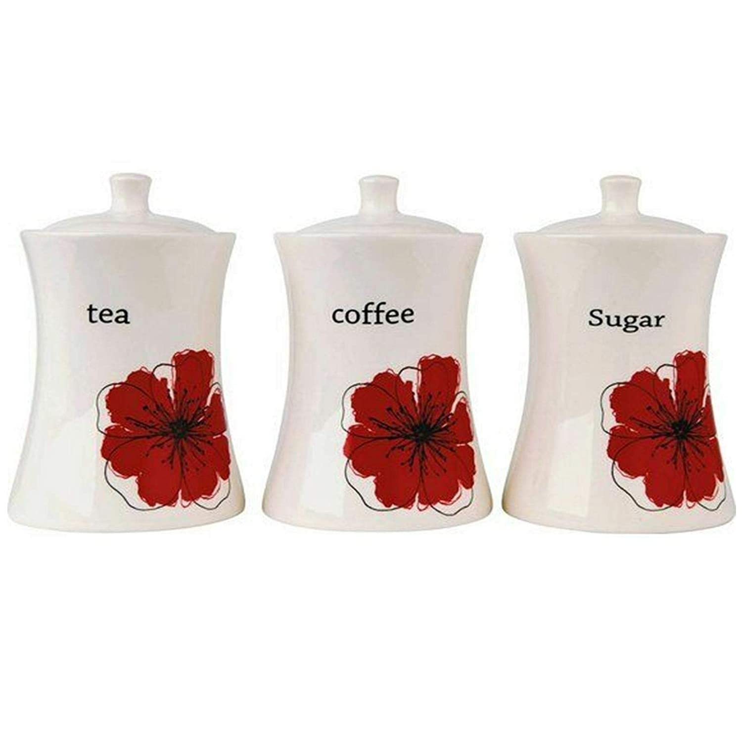 Set Of 3 Tea Sugar Poppies Canister Tableware Kitchenware Jars Tins Coffee