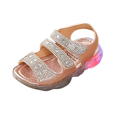 waitFOR Kids 2 Bowknot Glow LED Sandals Girls Baby Fashion