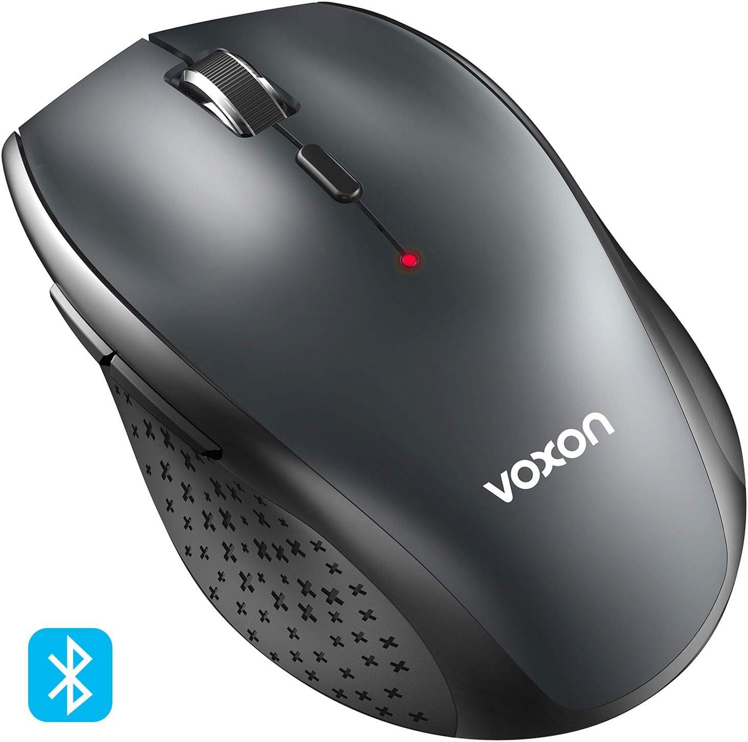 VOXON Ratón Inalámbrico Bluetooth, 3000DPI Wireless Mouse con indicador de batería, 5 Niveles dpi, 3000/2000/1600/1200/800 dpi, Óptico, 5 Botones, 24 Meses duración de batería