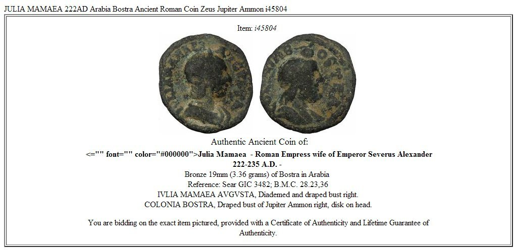 222 IT JULIA MAMAEA 222AD Arabia Bostra Ancient Roman Co coin Good at Amazons Collectible Coins Store