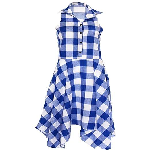 FashionYoung Bolsillo De La Camisa A Cuadros Plisada Casual Sin Mangas Vestido Irregular: Amazon.es: Ropa y accesorios