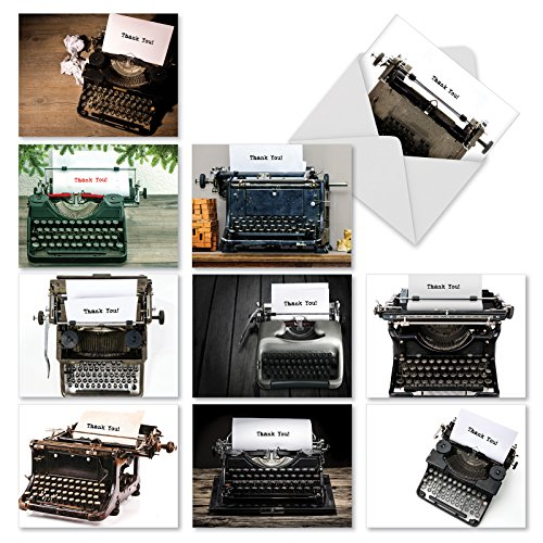 M3968 Manual Thanks: 10 Assorted Blank Thank You Note Cards Feature Images of Old-fashioned Manual Typewriters, w/White Envelopes.