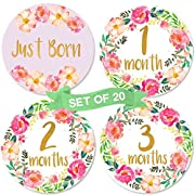 Baby Monthly Milestone Stickers | Birth to 12 Months + 8 Bonus Achievement Stickers | Set of 20 Floral Gold Stickers | Best Baby Shower Gift for Baby Girl