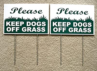 "2 Pcs Paramount Popular Please Keep Dogs Grass Warning Signs Yard Sign Caution Against Dirt Size 8"" x 12"" with Stakes"