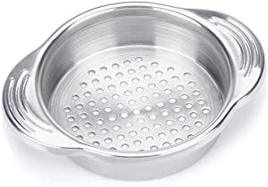 Onwon Tuna Strainer Food-Grade Stainless Steel Sieve Tuna Press Can Lid Oil Drainer Remover Canning Colander Oil Squezzer Easy to Clean Won't Absorb Any Odours