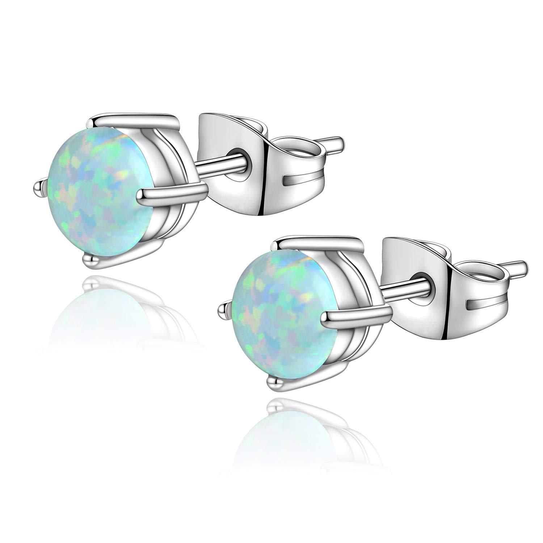 Candyfancy 4mm Opal Stud Earrings Surgical Steel Piercing Earrings Double Lobe Earrings for Women Men (White) by Candyfancy