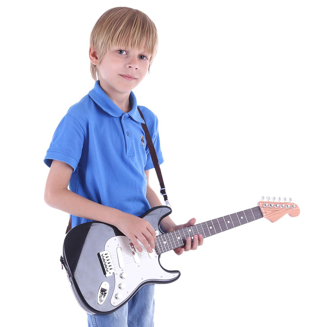 Amazon.com: Yamix Kids Guitar, 6 Strings Electric Guitar for Kids Musical Instruments Toy Guitar (Black + White): Toys & Games